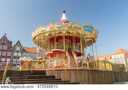 Gdansk, Poland - March 31, 2021: Carousel At The Old Town Of Gdansk.