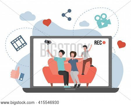 Family Making Video Blog About Their Life Vector Flat Illustration. Mother, Father And Son Sitting O