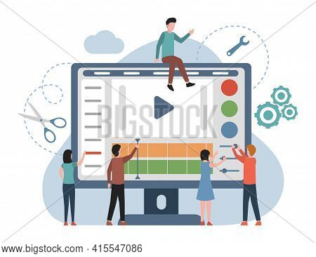 People Making And Editing Video For Social Media Vector Flat Illustration. Men And Women Working On