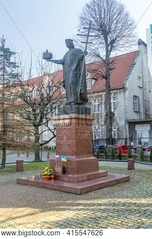 Gdansk, Poland - March 31, 2021: Statue Vladimir The Great Called The Great, Was Prince Of Novgorod,