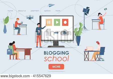 Blogging School Vector Flat Landing Page Template With Text Space. Man Educating People How To Creat