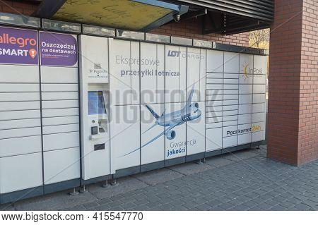 Gdansk, Poland - March 31, 2021: Lot Postinair Package Delivering Solution. Lot Cargo Parcel Locker.