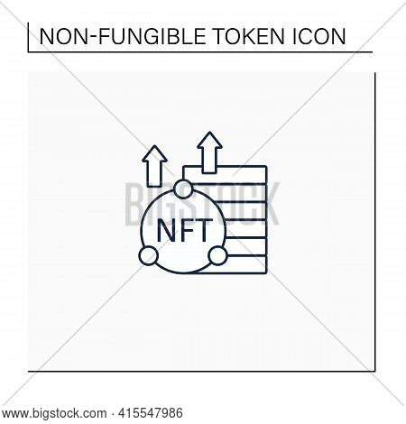 Nft Asset Line Icon. Unique Digital Assets. Growth. Cryptocurrency Concept. Isolated Vector Illustra