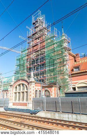 Gdansk, Poland - March 31, 2021: Gdansk Glowny Station Building During Renovation.