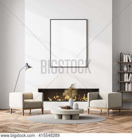 Living Room Interior With Fireplace, Two Beige Armchairs And Coffee Table On Carpet, Parquet Floor.