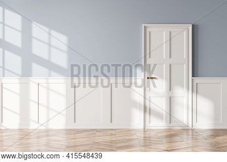 Living Room Interior With No Furniture, Empty Light Blue And Wooden Hall With White Door. Mockup Cop