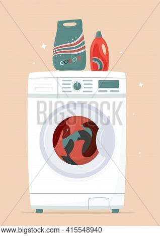 Washing Machine And Laundry In It, Detergents In Flat Style. Washing Clothes. Modern Laundromat, Hom