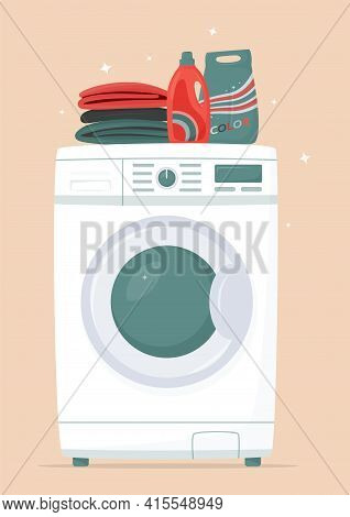 Washing Machine, Detergents And Clean Linen In Flat Style. Washing Clothes. Modern Laundromat, Home