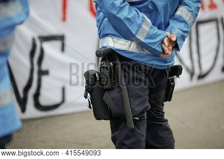 Bucharest, Romania - April 3, 2021: Details With The Riot Kit Of A Romanian Jandarm During A Rally: