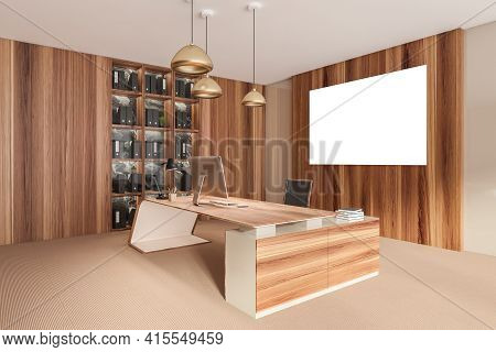 Wooden Office Manager Room Interior With Table And Desktop Computer, Shelf With Folders, Black Armch