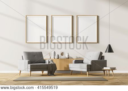 Modern Living Room Interior With Two Vintage Armchairs And Coffee Table With Books, Reading Room On