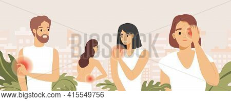 Sad People Suffering From Pain In Different Body Parts Vector Flat Illustration. Headache, Pain In T