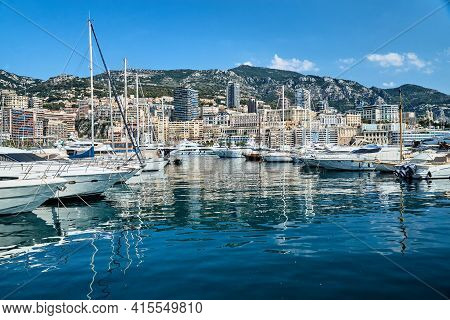 Monaco, Monte-carlo, 06 August 2018: Tranquillity In Port Hercules, Is The Parked Boats, Sunny Day,