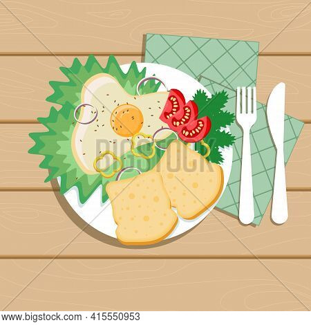 Delicious Scrambled Eggs With Cabbage And Dill. White Bread Slices. Pieces Of Tomatoes On A White Pl