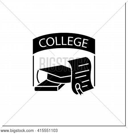 College Graduation Glyph Icon. Successful Training Completion. Books And Graduate Hat. Diploma.bache