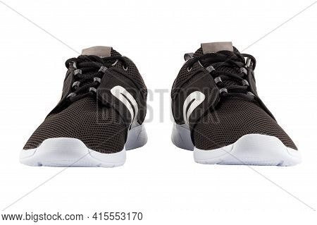 Pair Of Black Airmesh Summer Walking Lightweight Shoes Isolated On White Background
