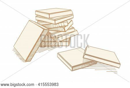 Hand-drawn Illustration, Chocolate. Pieces Of White Chocolate. A Pyramid Of Broken Chocolate Bars.