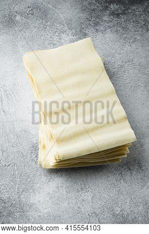 Lasagna Dough Sheets Set, On Gray Stone Background