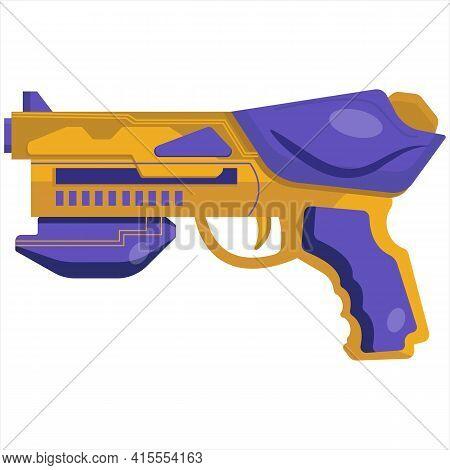 Vector Clip Art Blaster. Concept Illustration Of Alien Weapons. Energy Gun For Game Design. Colorful