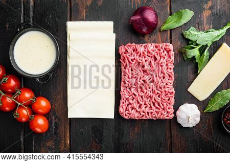 Meat Lasagna Ingredients Set, On Old Dark  Wooden Table Background, Top View, Flat Lay