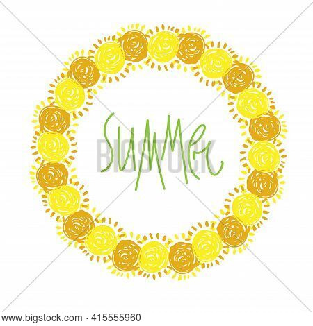 Vector Isolated Colorful Vignette Design With Orange And Yellow Hand-drawn Suns In Circle