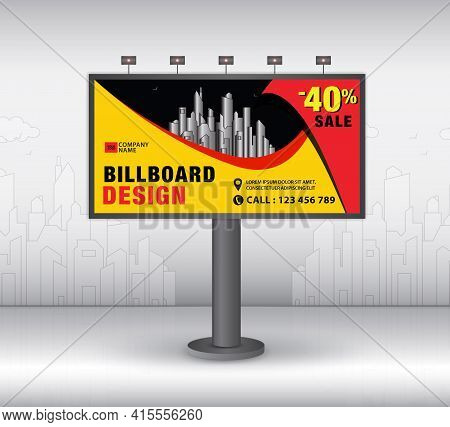 Billboard Design Template, Advertisement, Realistic Construction For Outdoor Advertising On City Bac
