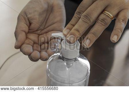 Hand Sanitizer Woman Applying Sanitizing Gel Liquid Rubbing Hands Clean Personal Hygiene Coronavirus