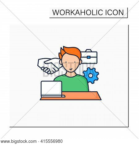 Workaholism Color Icon. Business Ethics.conduct Rules At Workplace. Workaholic Concept.isolated Vect