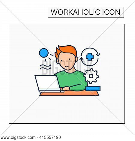 Workaholic Color Icon. Workaholism Prevention.conduct Rules. Reasonable Time Allocation. Overworking