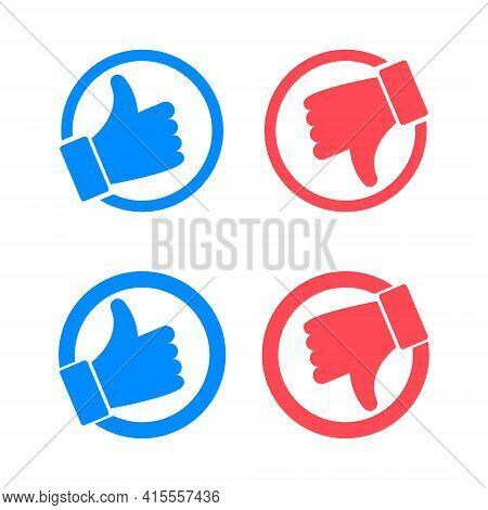 Like And Dislike Vector Flat Icons. Thumbs Up And Thumbs Down Icons. Blue Like Button, Red Dislike B