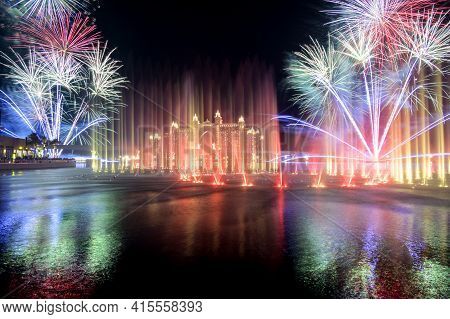 13th November 2020 ,the Pointe ,dubai. View Of The Spectacular Fireworks And The Colorful Dancing Fo