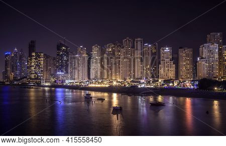 20th Nov 2020. Beautiful Night View Of The Illuminated Skyscrapers At The Dubai Marina Captured From