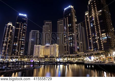 1st December 2020.dubai Creek Harbor Skyline With Embankment Promenade And Beautifully Illuminated H