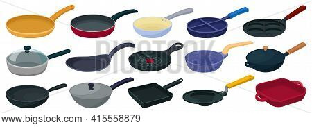Pan Vector Cartoon Set Icon. Vector Illustration Griddle On White Background. Isolated Cartoon Set I