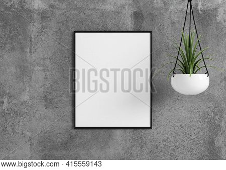 Single 8x10 Vertical Black Frame Mockup With Green Plant In Vase On Concrete Wall. 3d Rendering
