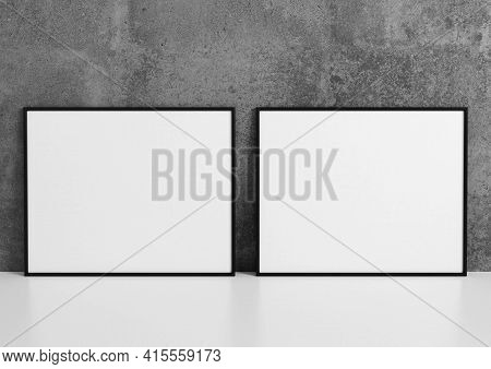 Double 8x10 Horizontal Black Frame Mockup On White Shelf And Concrete Wall. 3d Rendering
