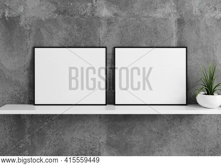 Double 8x10 Horizontal Black Frame Mockup With Green Plant In Vase On White Shelf And Concrete Wall.
