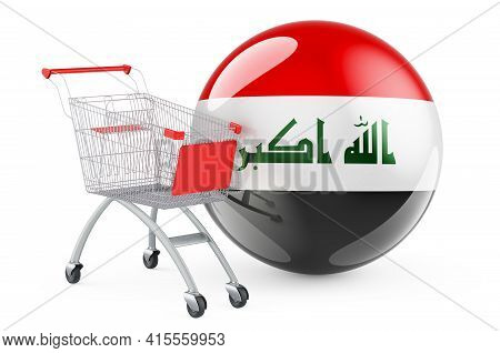 Shopping Cart With Iraqi Flag. Shopping In Iraq Concept. 3d Rendering Isolated On White Background