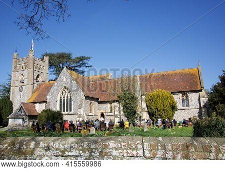 4 April 2021 - Hambledon Uk: Open Air Church Service On Easter Sunday
