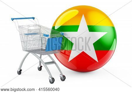 Shopping Cart With Myanmar Flag. Shopping In Myanmar Concept. 3d Rendering Isolated On White Backgro