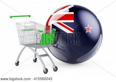 Shopping Cart With New Zealand Flag. Shopping In New Zealand Concept. 3d Rendering Isolated On White