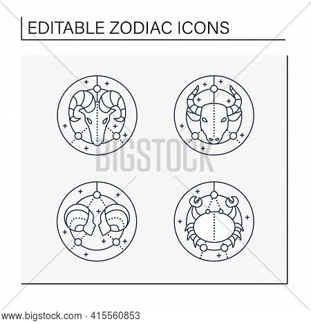 Zodiac Line Icons Set. Fourth Fire Signs In Zodiac. Birth Symbols.cancer, Gemini, Aries, Taurus. Mys