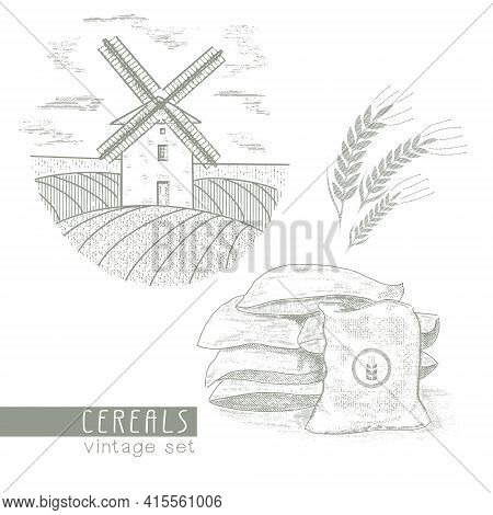 Mill On The Background Of Fields, Sacks Of Grain, Ears Of Wheat. A Set Of Illustrations In An Old Vi