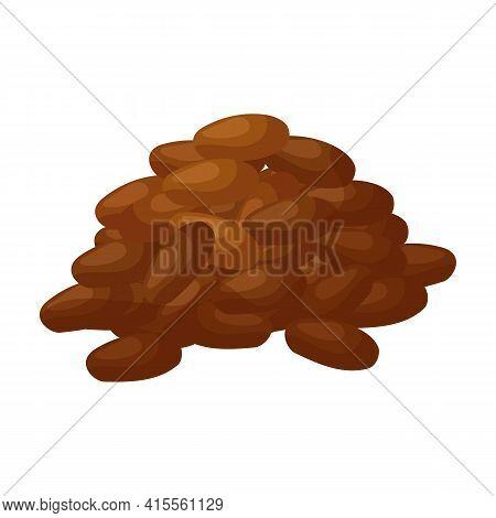 Cocoa Bean Isolated Cartoon Illustration Icon. Vector Illustration Chocolate Fruit On White Backgrou