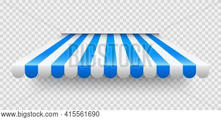 Blue Shop Sunshade On Transparent Background. Realistic Striped Cafe Awning. Outdoor Market Tent. Ro