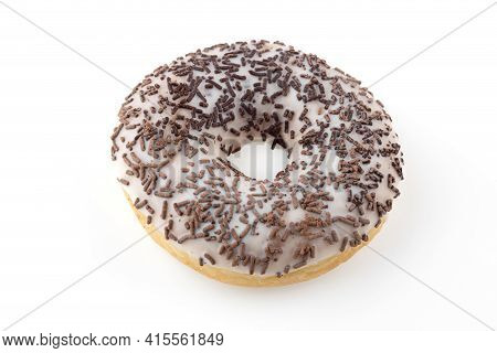 Donut Close-up On A White Background. Round Donut Isolated On White Background.
