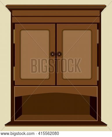 A Decorative Wooden Cabinet With A Bottom Shelf Is Hanging Against An Interior Wall