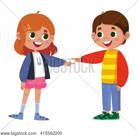 Friends Joke And Laugh Together. Happy Boy And Girl Enjoy Funny Friendly Jokes Together, Point Finge
