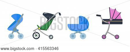Baby Carriage Vector Illustration. Baby Cradle Carriage Flat Icon