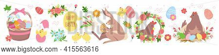Cute Easter Set, Funny Spring Collection With Bunny Animal, Hen In Nest, Basket With Eggs